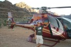 Helicopter landing in Grand Canyon